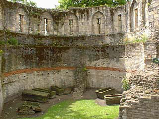 Roman wall and coffins